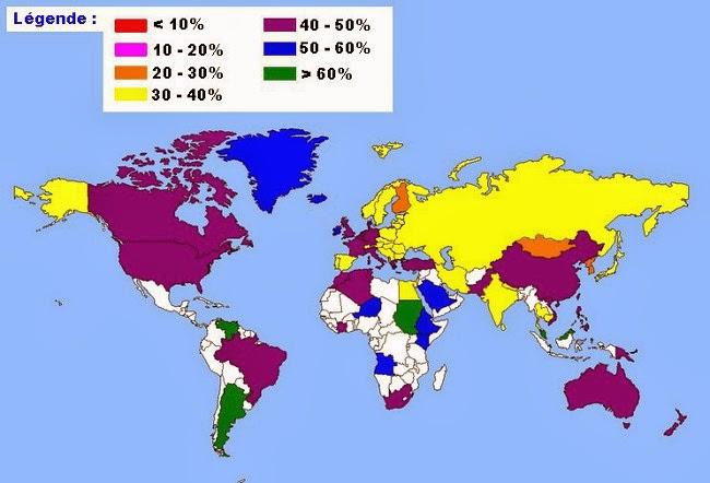 Carte du monde avec la r�partition des groupes O