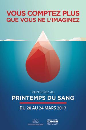 Affiche de la collecte du don de sang le Printemps du sang par IONIS
