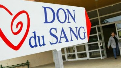 photo de la pancarte indiquant une collecte de don du sang